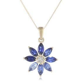 Sapphire Flower Pendant with Diamond