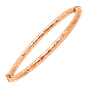 Diamond-Cut Textured Hinge Bangle