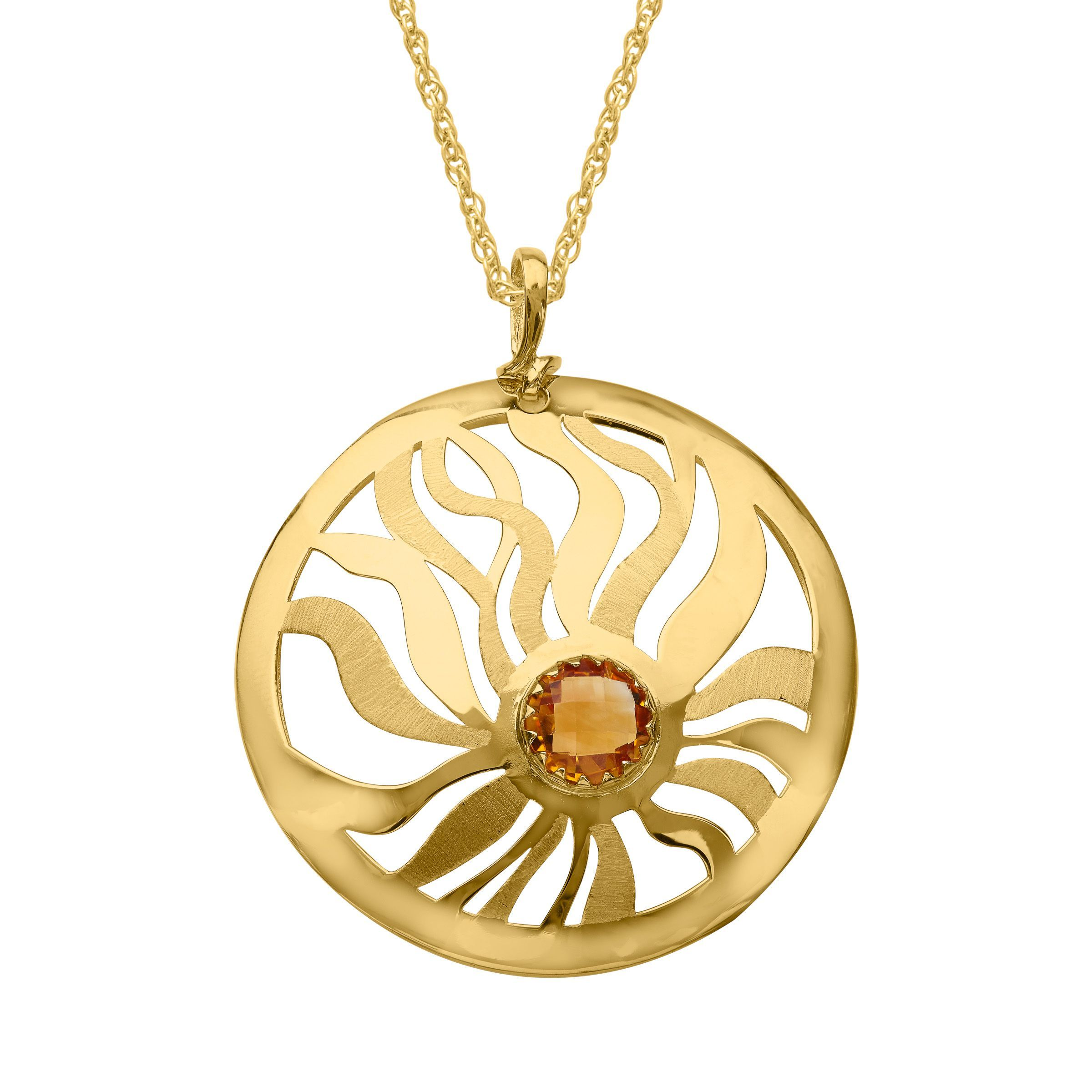 itm ct medallion pendant natural gold in citrine
