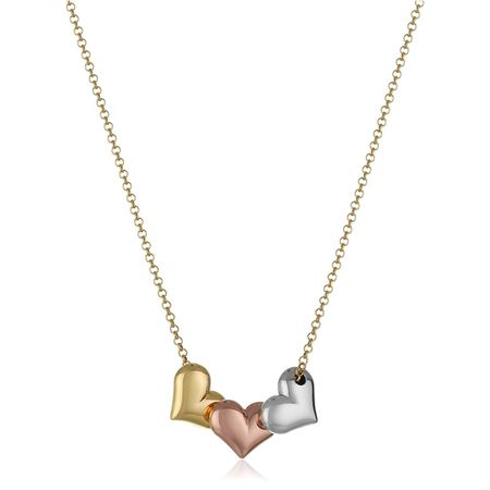 Three-Tone Puffed Heart Necklace