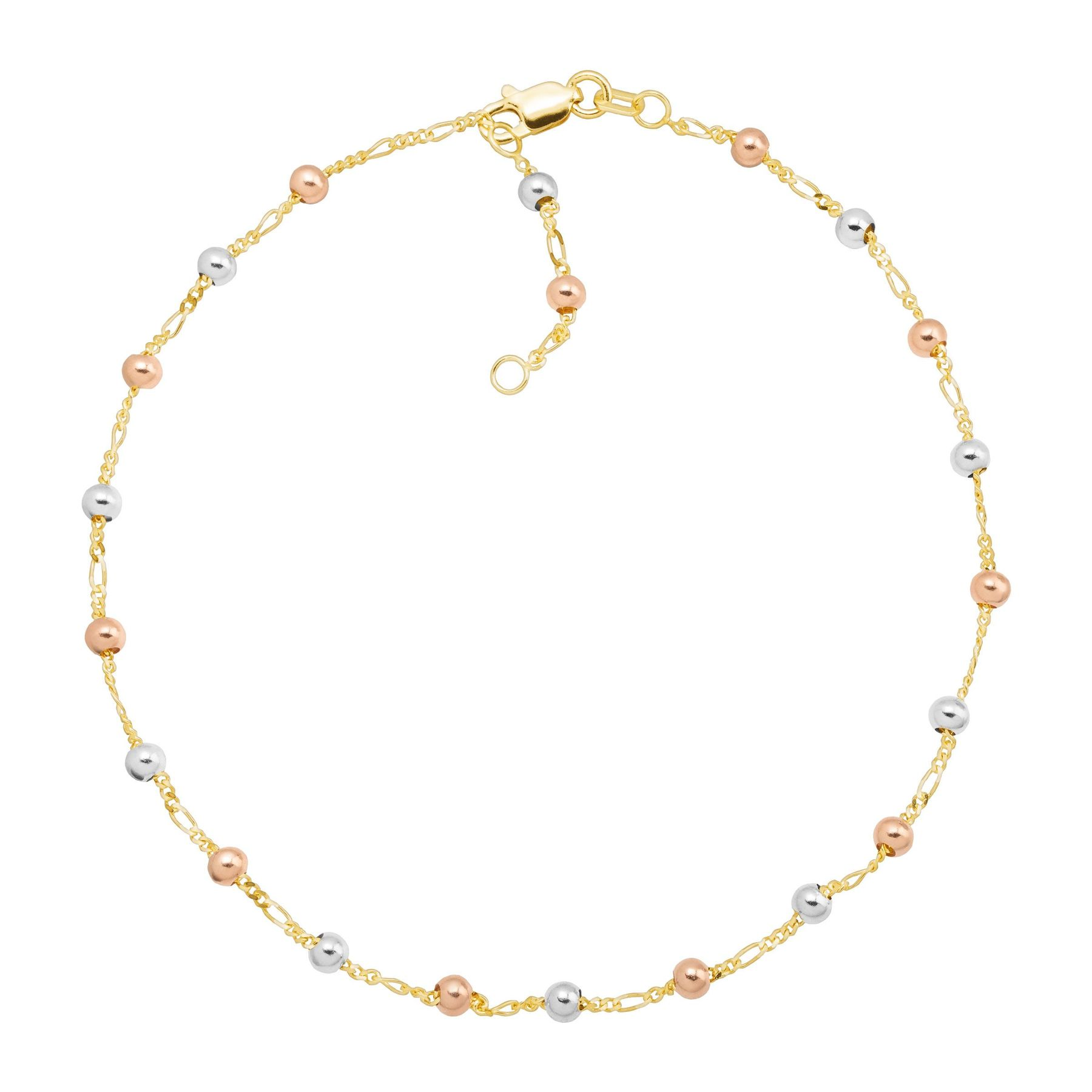 Just Gold Beaded Ankle Bracelet In 14k Three Tone