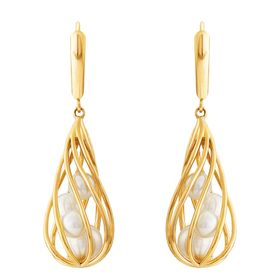 4.5-6.5 mm Pearl Spiral Cage Earrings