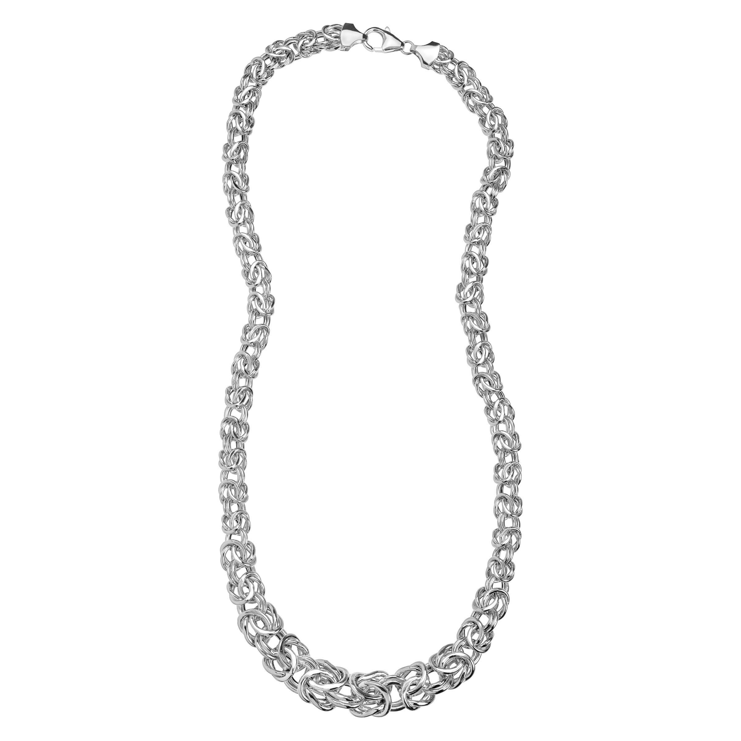 rhodium mm sterling com byzantine necklace square amazon silver dp chain heavy