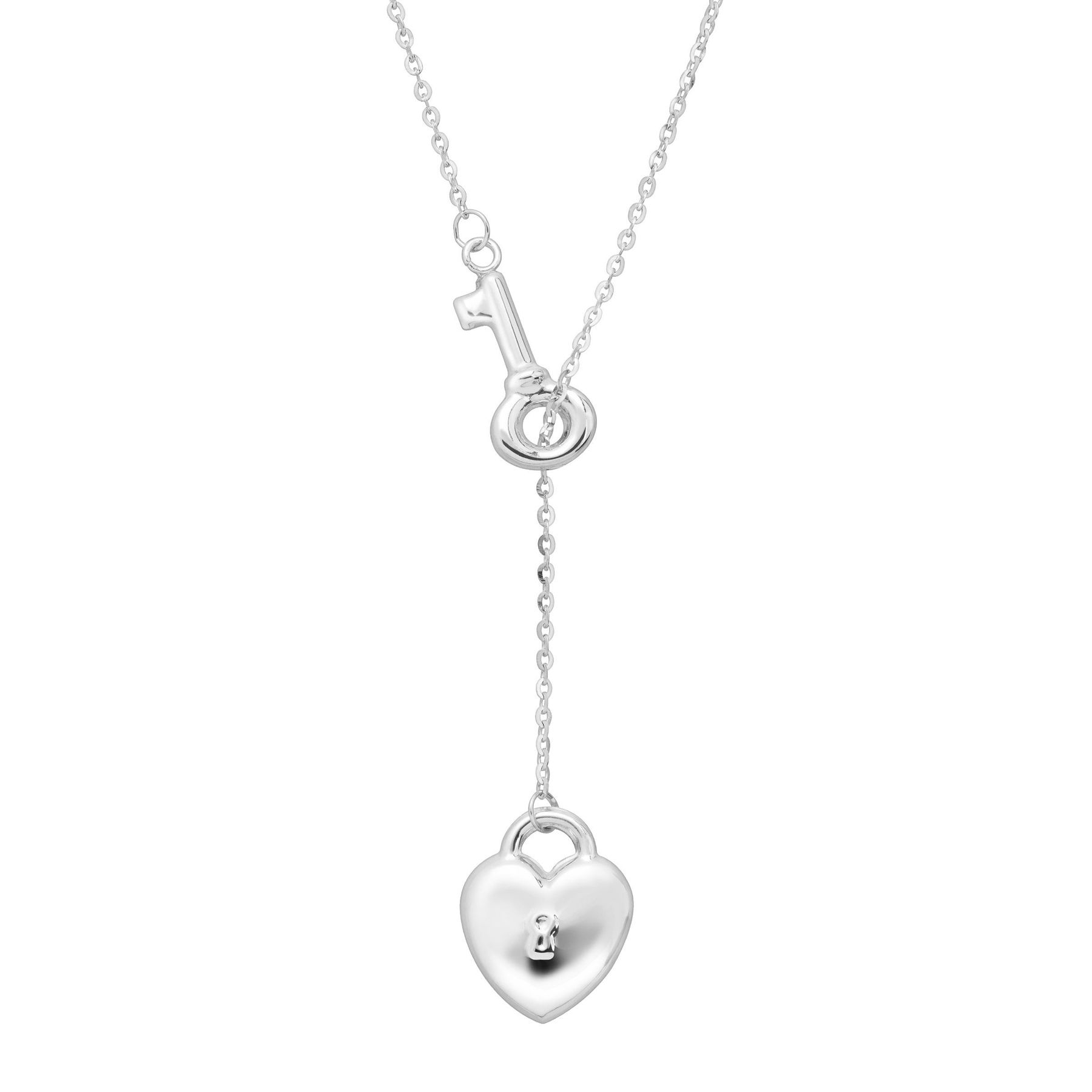 Just gold heart lock key lariat necklace in 14k white gold heart heart lock key lariat necklace aloadofball Gallery
