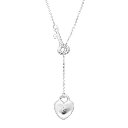 168bd21714 Eternity Gold Heart Lock & Key Lariat Necklace in 14K White Gold ...