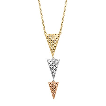 e9a856380 Eternity Gold Triple Triangle Drop Necklace in 14K Three-Tone Gold ...