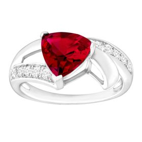 3 1/4 ct Ruby & White Sapphire Trillion Ring