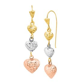 Three-Tone Drop Heart Earrings