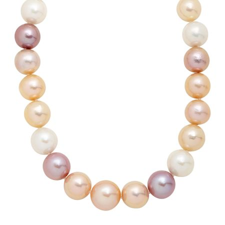 12-16 mm Multicolored Ming Pearl Strand Necklace, 18