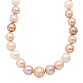 12-16 mm Multicolored Ming Pearl Strand Necklace, 20""