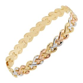 Three-Tone Heart Link Chain Bracelet