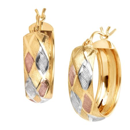 Three-Tone Harlequin Hoop Earrings