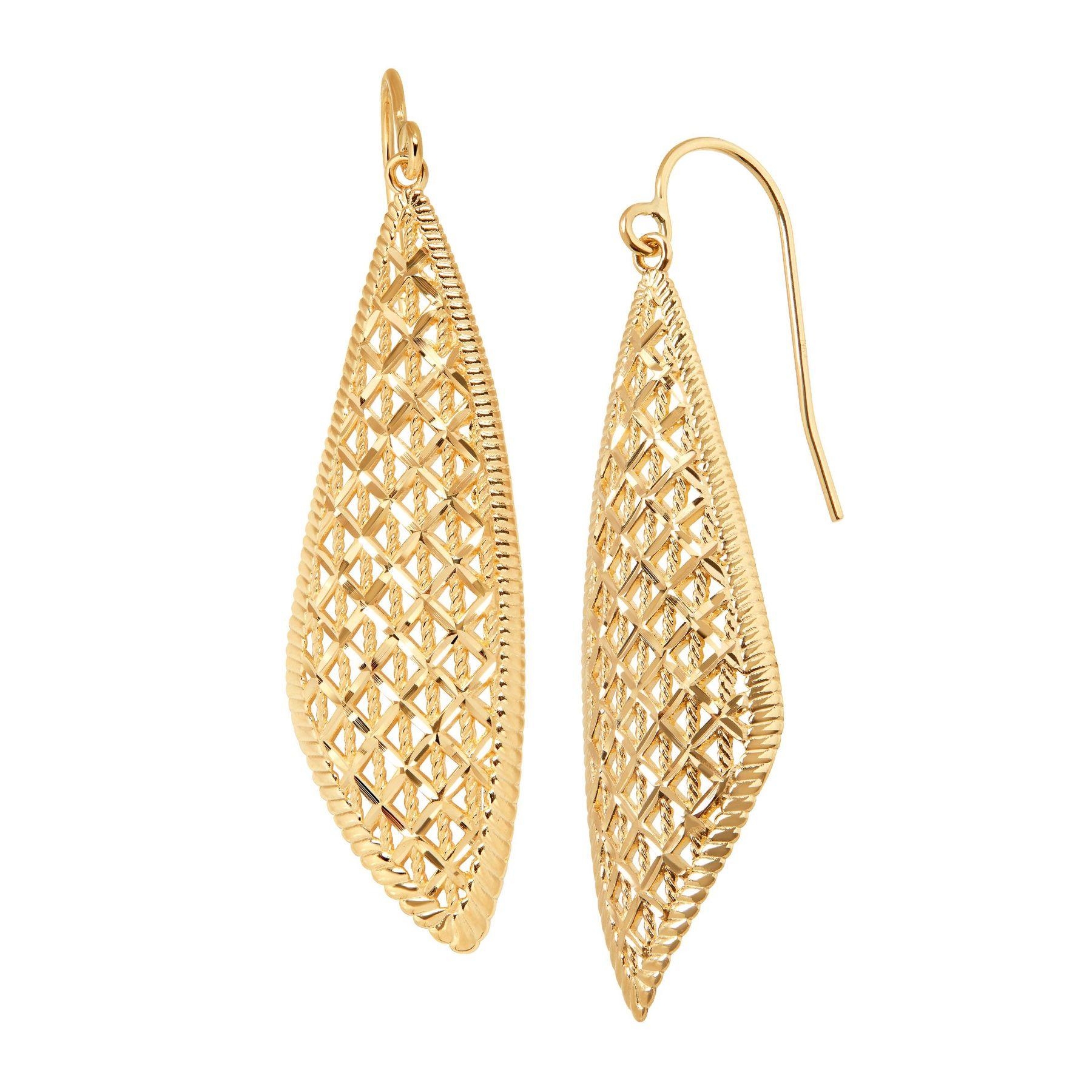 just gold diamond cut teardrop earrings in 14k gold diamond cut