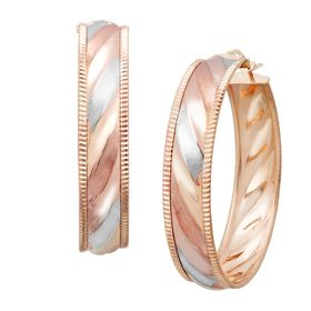 Three-Tone Stripe Hoop Earrings
