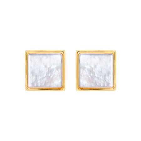 Square Mother Of Pearl Stud Earrings