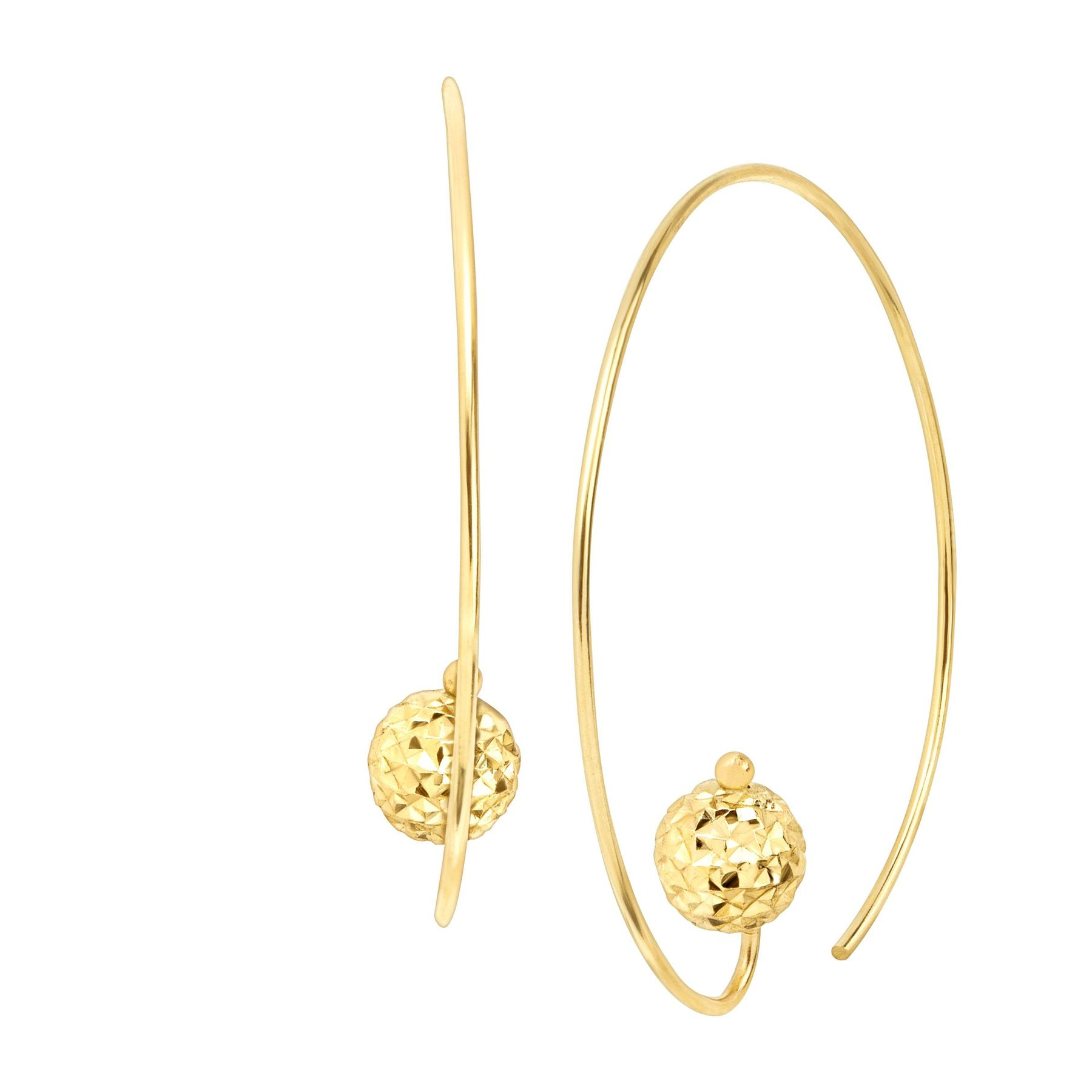 Eternity Gold Wire Hoop Earrings with Textured Bead in 14K Gold ...