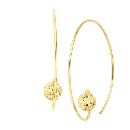 Wire Hoop Earrings With Textured Bead
