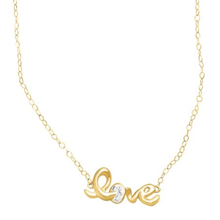 Teeny-Tiny 'Love' Necklace with Swarovski Crystals