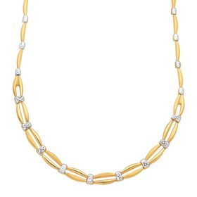 Two-Tone Graduated Stampato Link Necklace