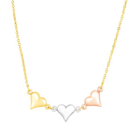 Three-Tone Linked Heart Necklace