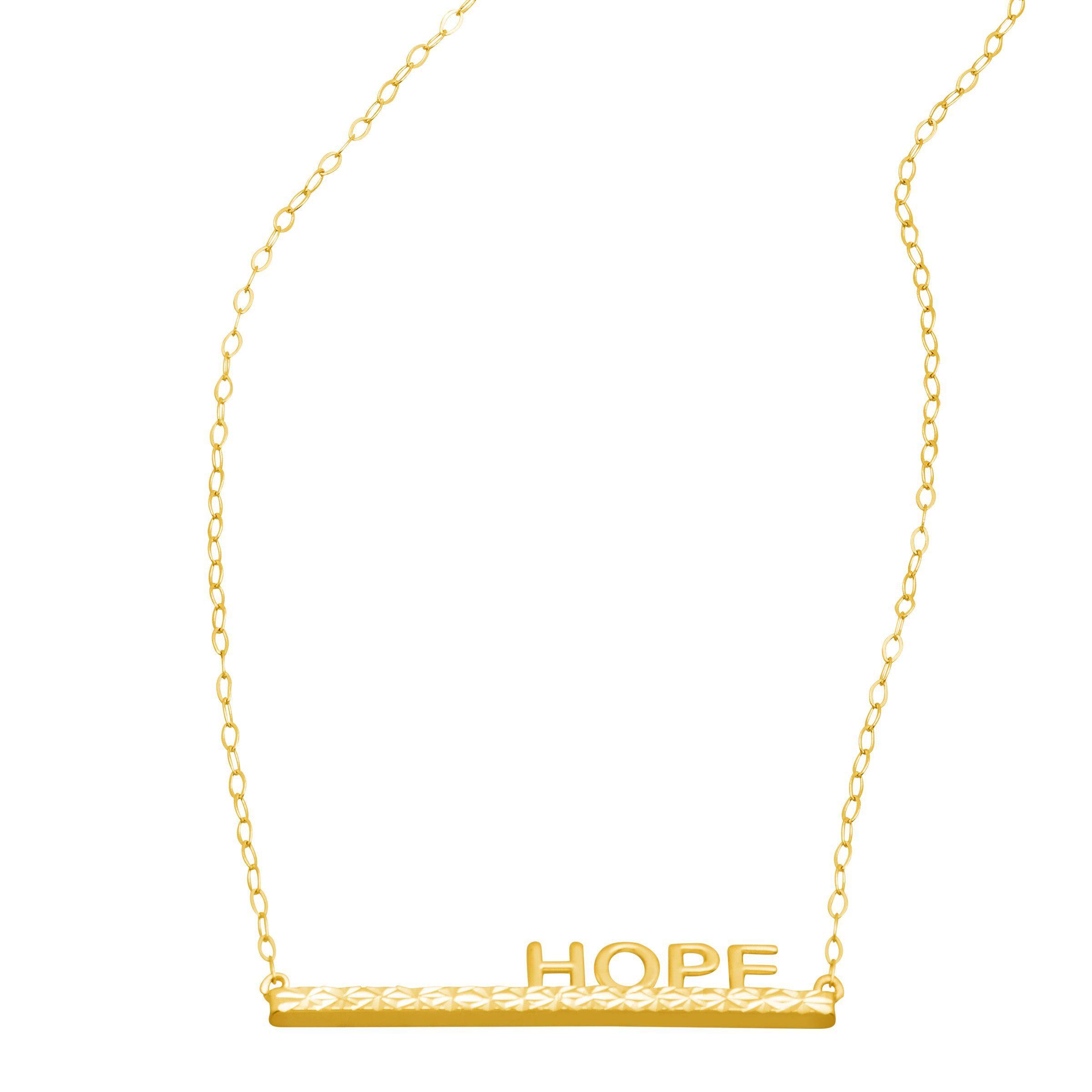 just gold 39 hope 39 horizontal bar necklace in 14k gold ebay. Black Bedroom Furniture Sets. Home Design Ideas