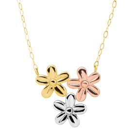 Three-Tone Flower Cluster Necklace