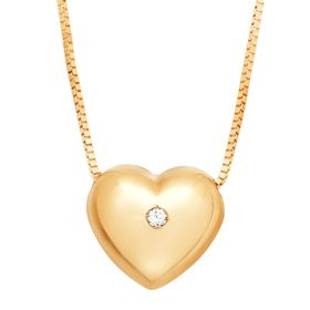 Puffed Heart Pendant with Cubic Zirconia