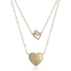 Layered Mother & Child Heart Necklace with Diamond