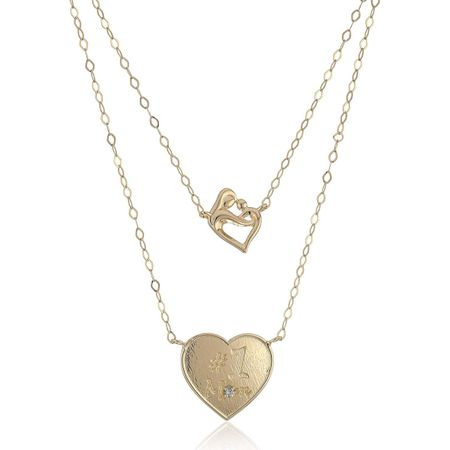 7aa4cb69a0c1c Layered Mother & Child Heart Necklace with Diamond in 14K Gold, 18