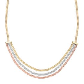 Three-Tone Triple Strand Chain Necklace