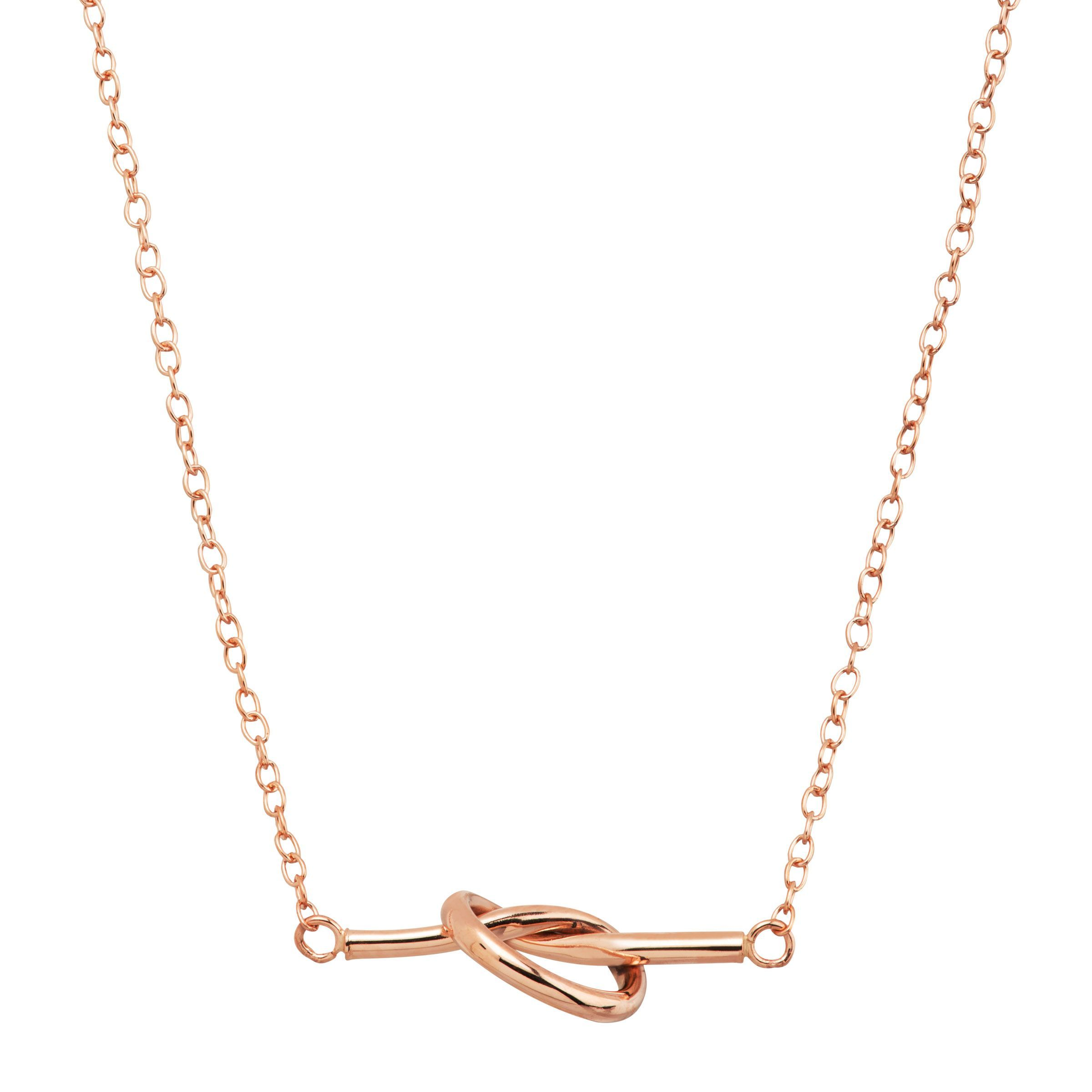 0f45c9f87959c9 Eternity Gold Love Knot Bar Necklace in 14K Rose Gold 98087885467 | eBay