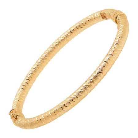 001758e4305e3 Eternity Gold Swirl Tube Hinge Bangle Bracelet in 14K Gold