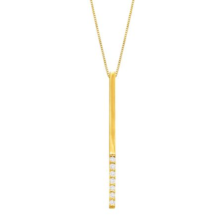 Elongated Vertical Bar Pendant with Cubic Zirconia