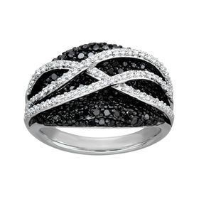 3/4 ct Black & White Diamond Ring
