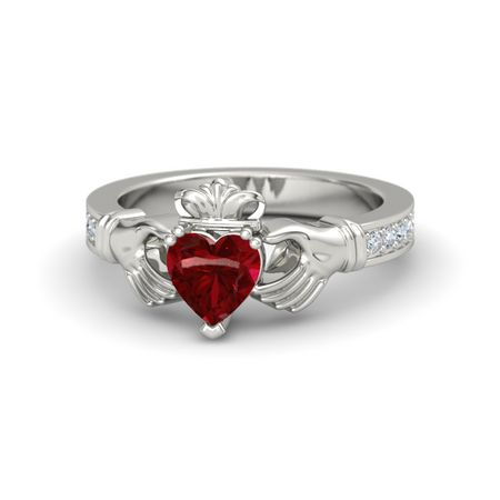 Heart Ruby 14K White Gold Ring with Diamond | Claddagh ...