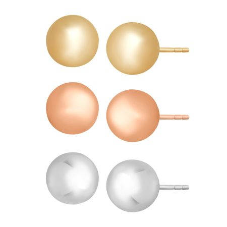 Set of Three Three-Tone Ball Stud Earrings