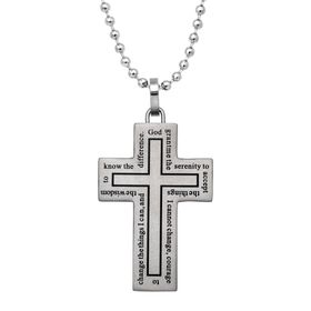Men's Cross Pendant Necklace with Prayer