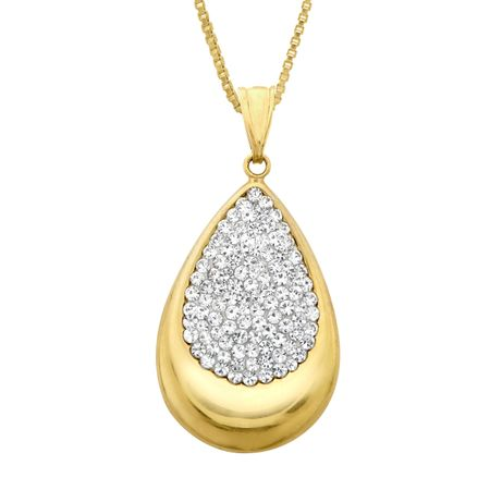 Crystaluxe teardrop pendant with swarovski crystals in 14k gold teardrop pendant with swarovski crystals mozeypictures Image collections