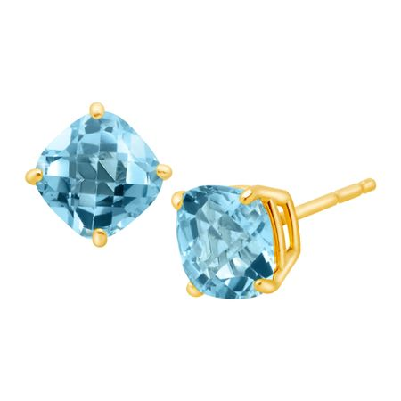 1 3 4 Ct Cushion Cut Swiss Blue Topaz Earrings
