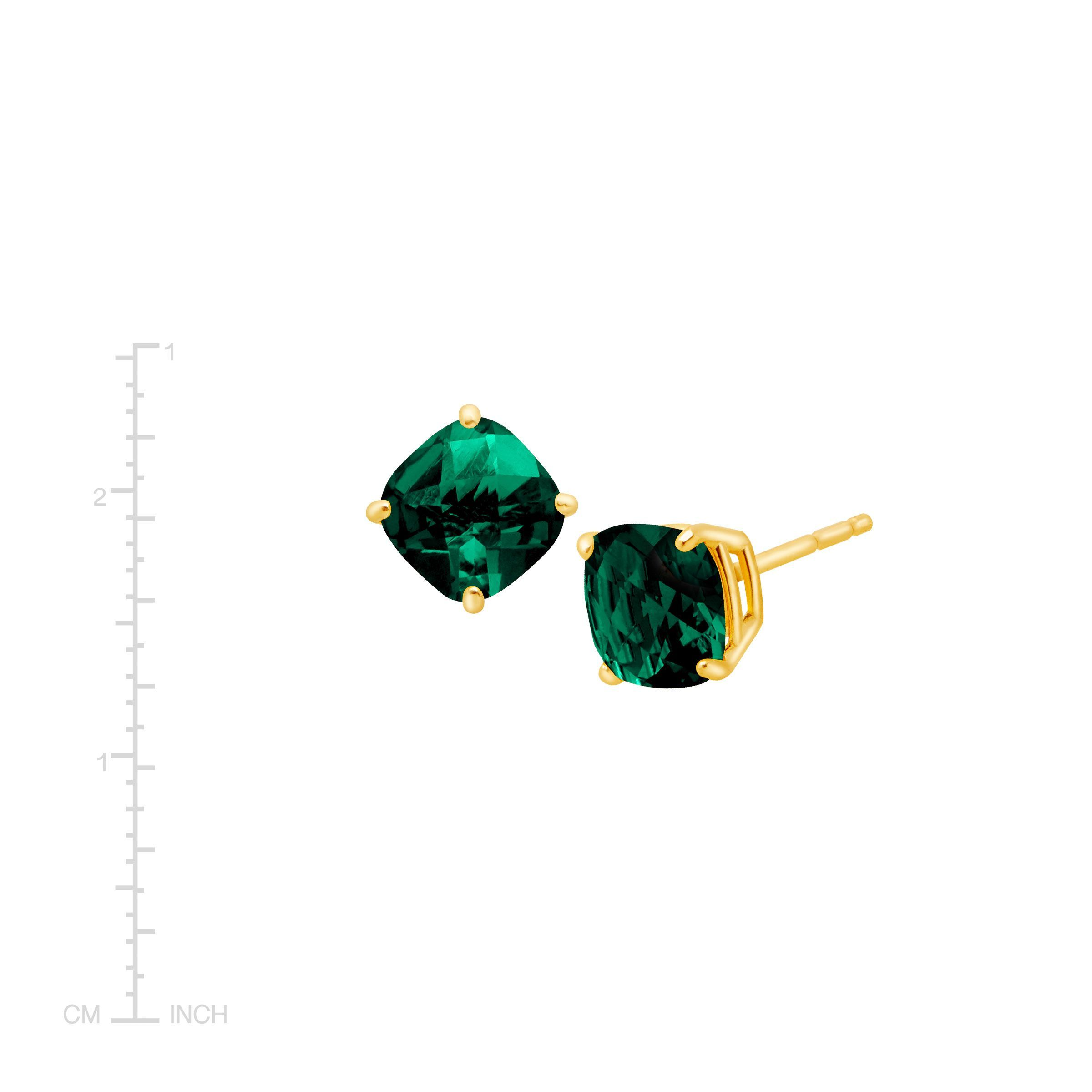 e2402824973cb Details about 1 1/5 ct Cushion-Cut Created Emerald Stud Earrings in 14K Gold