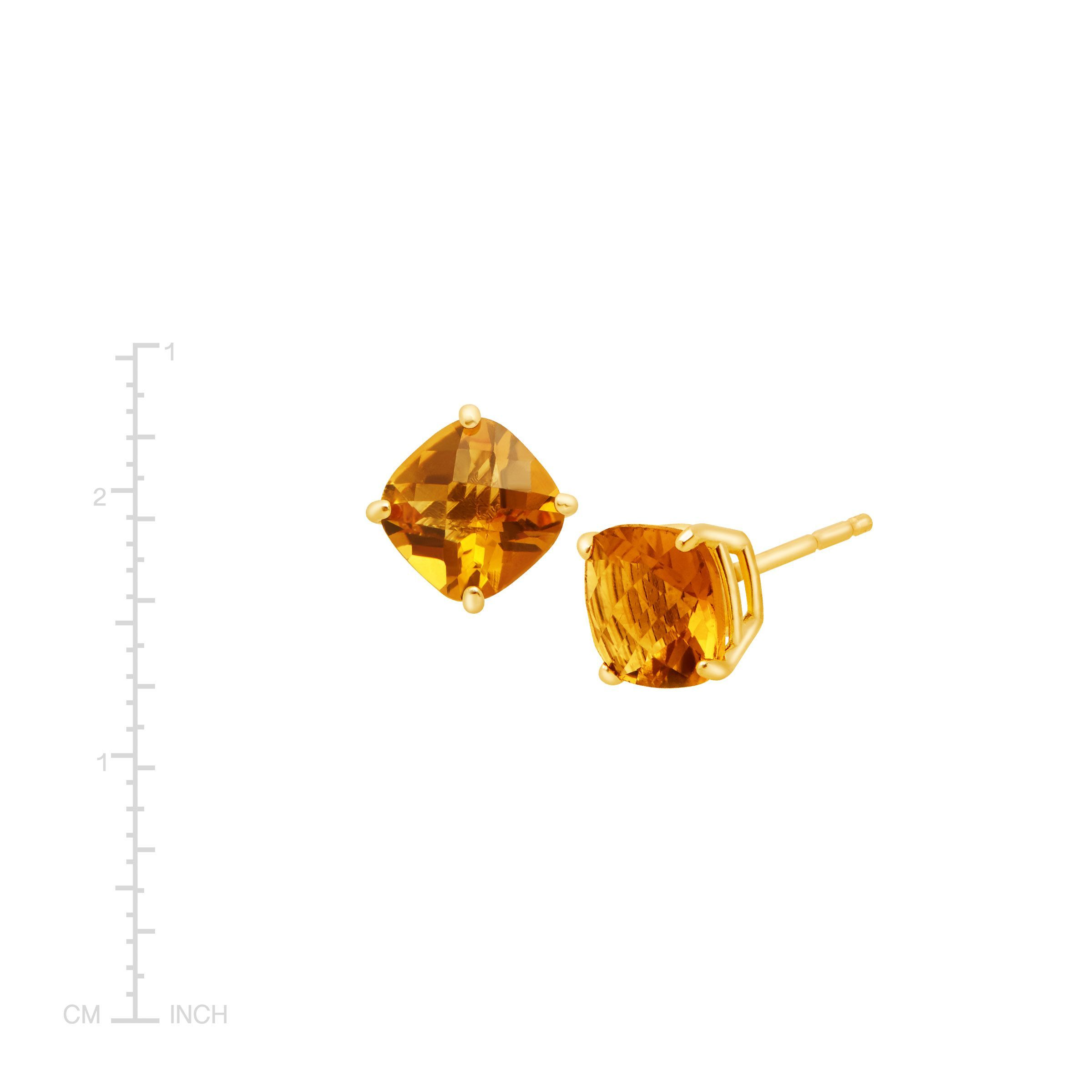 Details About 1 5 Ct Cushion Cut Natural Citrine Stud Earrings In 14k Gold