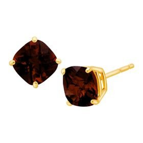 1 3/4 ct Cushion-Cut Garnet Stud Earrings