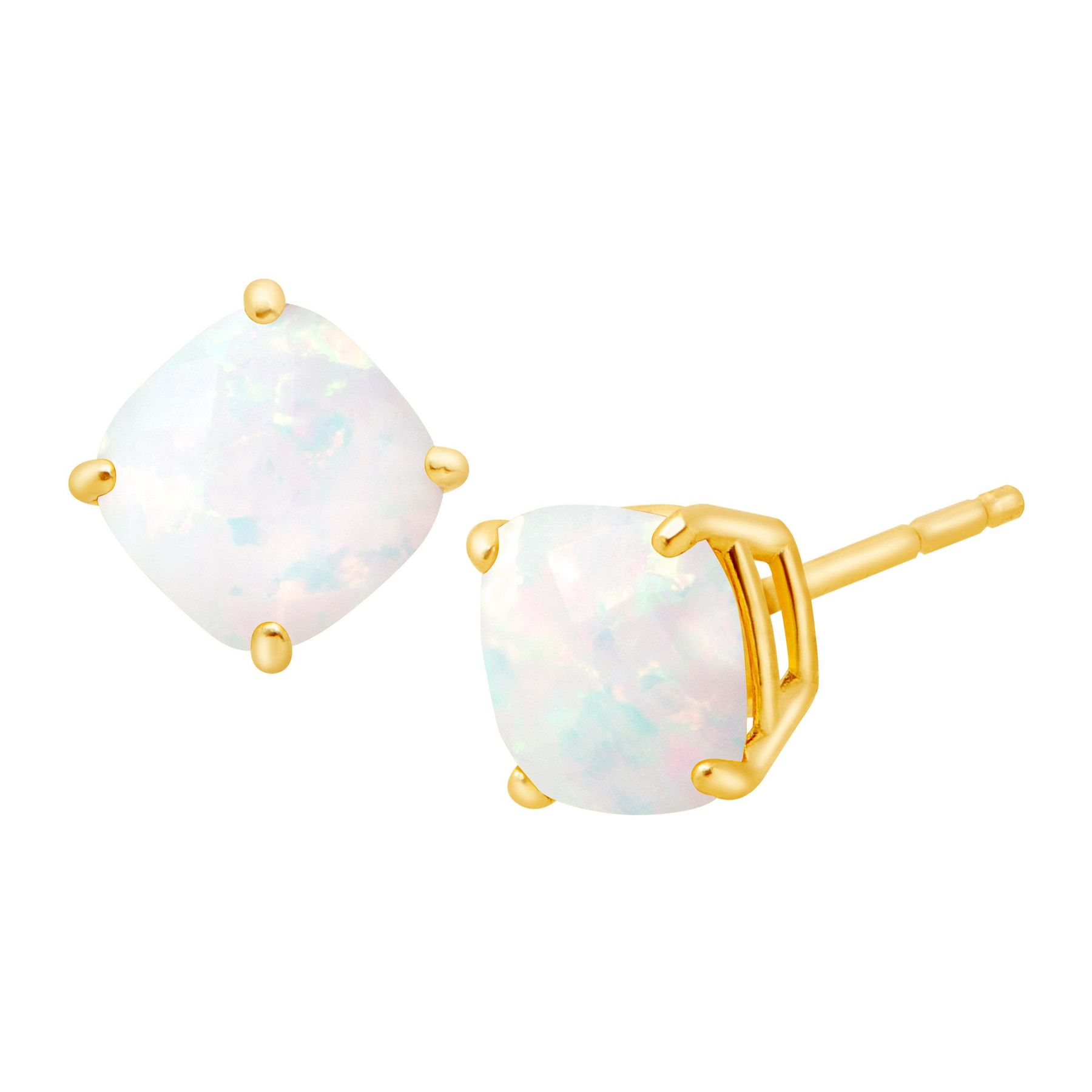 1 Ct Cushion Cut Opal Earrings