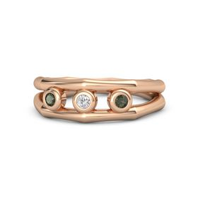 Round White Sapphire 14K Rose Gold Ring with Green Tourmaline