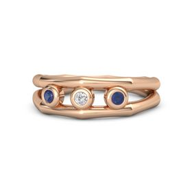 Round White Sapphire 14K Rose Gold Ring with Blue Sapphire
