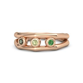 Round Peridot 14K Rose Gold Ring with Emerald and Green Tourmaline