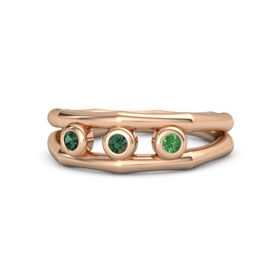 Round Alexandrite 14K Rose Gold Ring with Emerald and Alexandrite