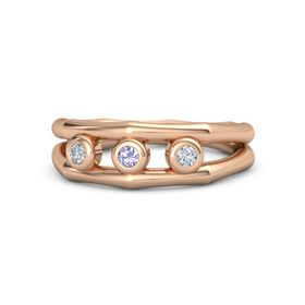 Round Tanzanite 14K Rose Gold Ring with Diamond