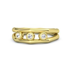 Round Rock Crystal 14K Yellow Gold Ring with Rock Crystal