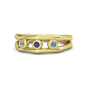Round Blue Sapphire 14K Yellow Gold Ring with London Blue Topaz and Blue Topaz
